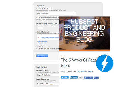Accelerated Mobile Pages for HubSpot