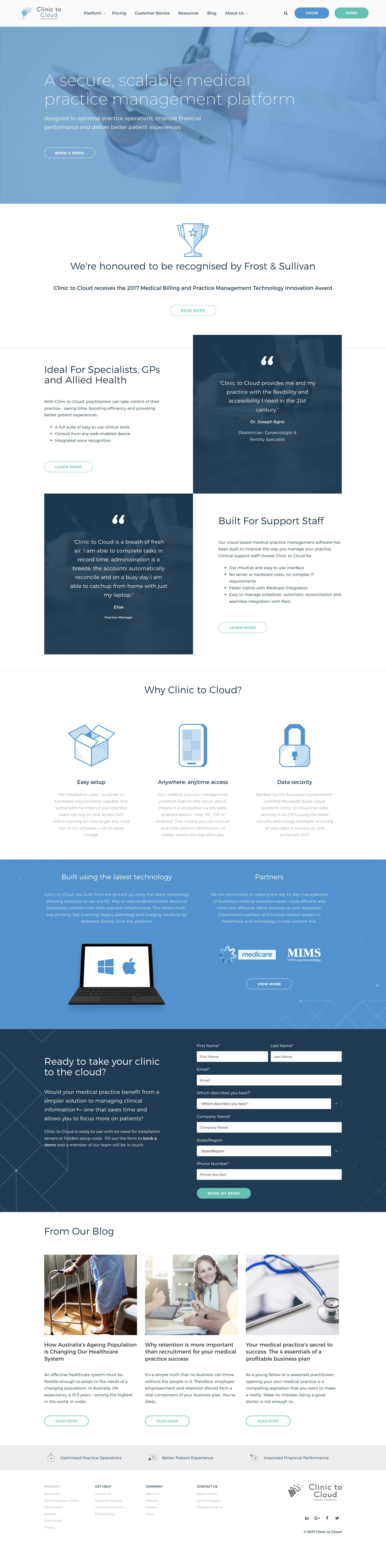 Clinic to Cloud Website Screenshot